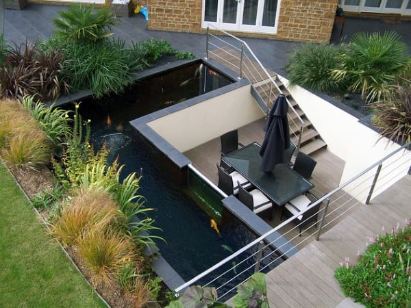 Contemporary Raised Garden Pond Design Ideas