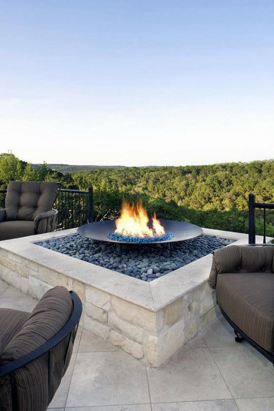 Contemporary Rock Outdoor Fire Pit With Stunning View Of Nature Scenery