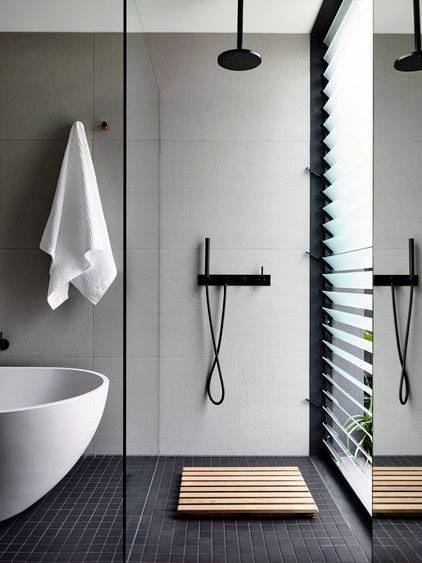 Contemporary Shower Window Ideas With Privacy Glass Shades