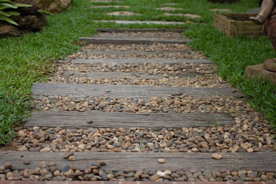 Contemporary Steps Backyard Ideas Wooden Walkway