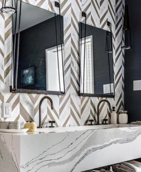 Contemporary Tile Pattern Bathroom Backsplash With Marble Sink