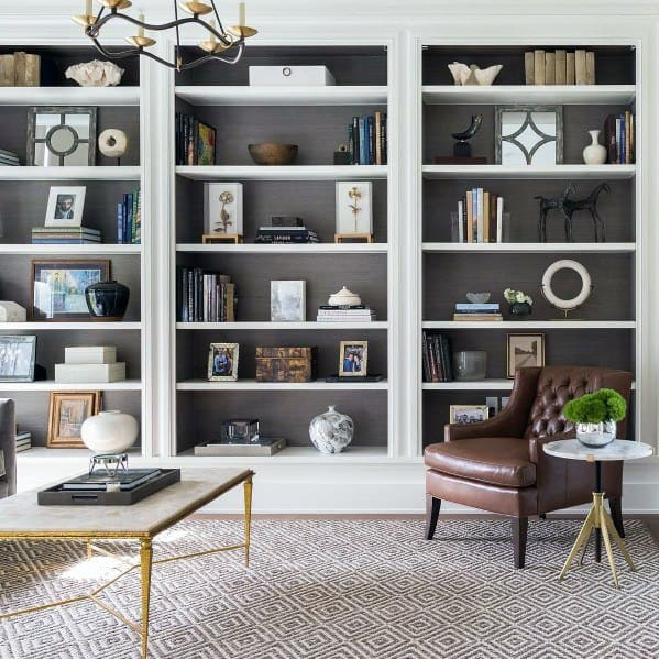 Contemporary White And Grey Home Floor To Ceiling Bookshelves Ideas