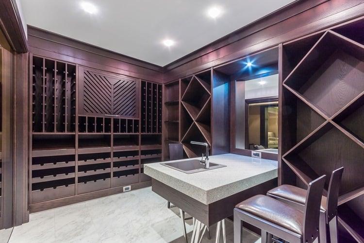 Contemporary Wine Cellar Basement Storage