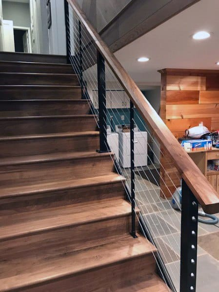Contemporary Wood And Metal Basement Stairs Interior Ideas