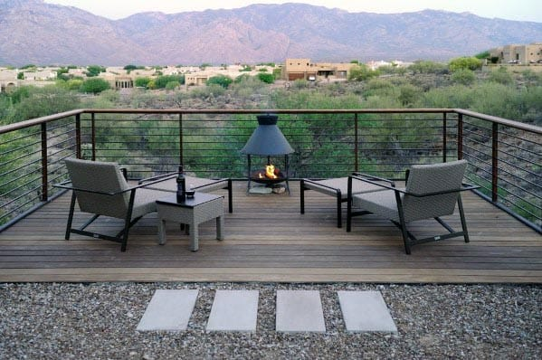 Contemporary Wood Deck Fire Pit Home Ideas