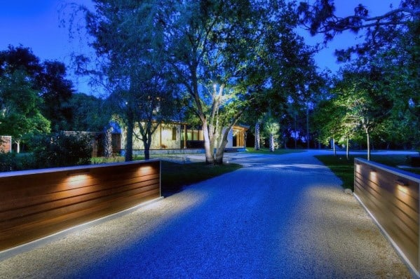 Contemporary Wood Wall Ideas For Driveway Lighting