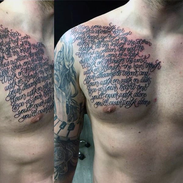 Continous Cursive Lettering Tattoo Male Chest Designs