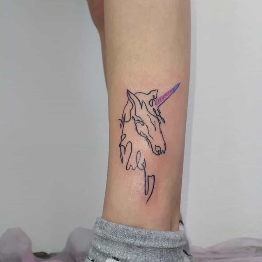 Continuous Line Unicorn Purple Blue Line Horn Delicate Unicorn Tattoo