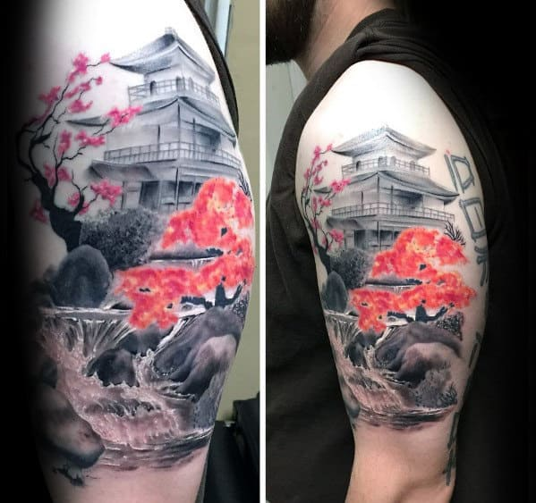5ea8e90d7 Contrasting Cherry Blossom Tree With Temple Mens Japanese Upper Arm Tattoo