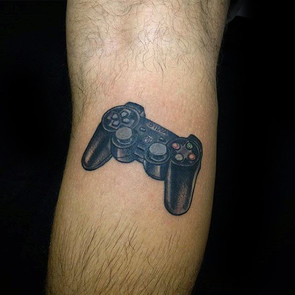 Controller Leg Calf Mens Tattoo With Playstation Design