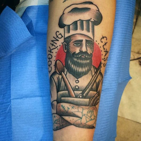 Cooking Class Culinary Skilled Chef Tattoo Male Forearm