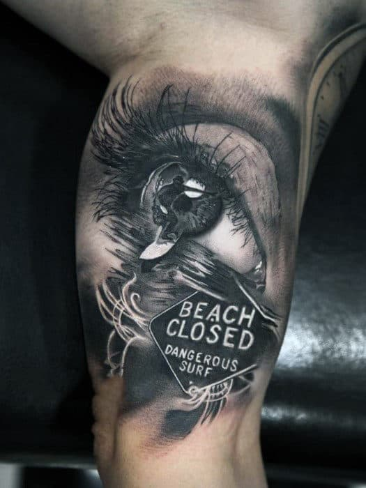 Cool 3D Eye And Surfer Tattoo Mens Arms