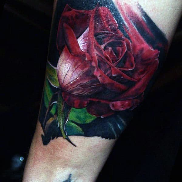 Cool 3D Pink Rose Tattoo Male Forearms