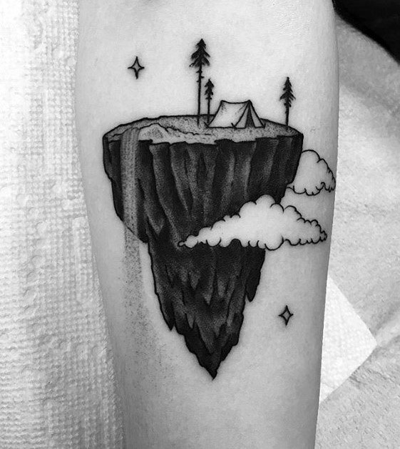Cool 3d Cliff Tent Tattoo Design Ideas For Male On Forearm