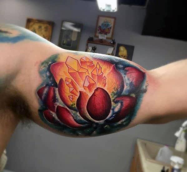 Cool 3d Crystal Flower Mens Inner Arm Bicep Tattoo Design Ideas