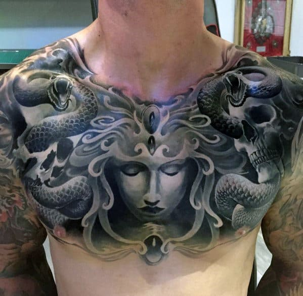 Cool 3d Mens Medusa Chest Tattoo Designs