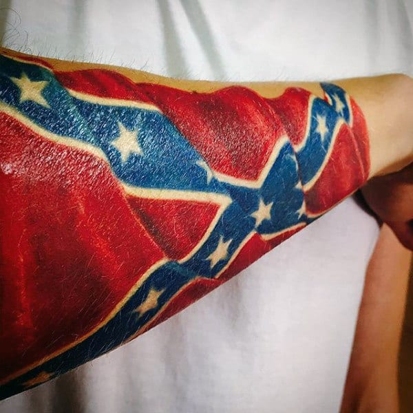 Cool 3d Realistic Confederate Rebel Flag Mens Forearm Tattoos