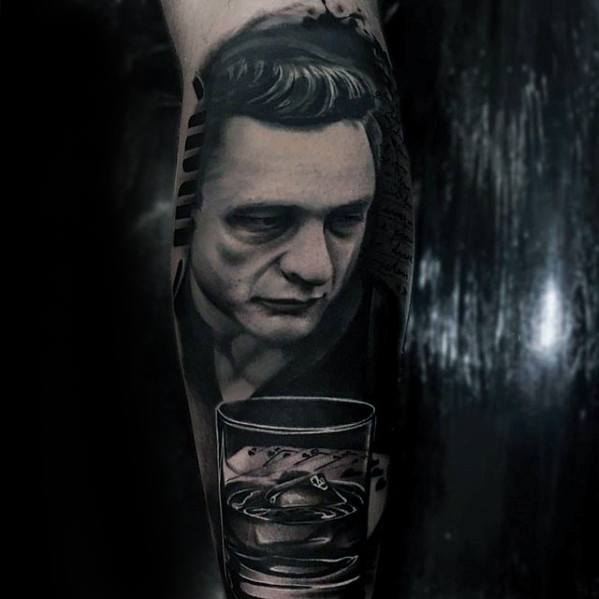 Cool 3d Realistic Leg Sleeve Johnny Cash Tattoo Design Ideas For Male
