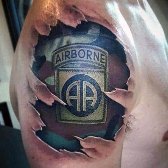 Cool 3d Realistic Torn Skin Mens Camo Upper Arm Airborne Tattoo