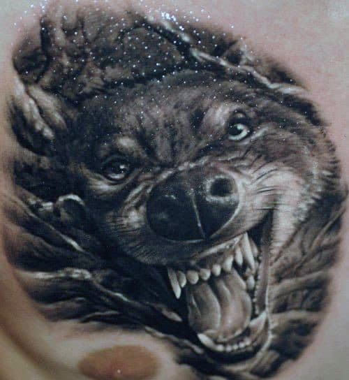 Cool 3d Realistic Wolf Head Guys Upper Chest Tattoos
