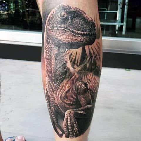 Cool 3d Velociraptor Dinosaur Mens Leg Calf Tattoos