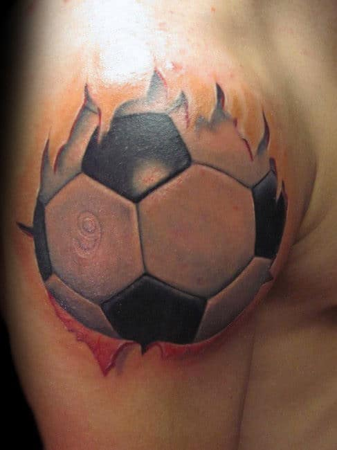 Cool 3d White Ink Soccerball Mens Shoulder Tattoo Designs