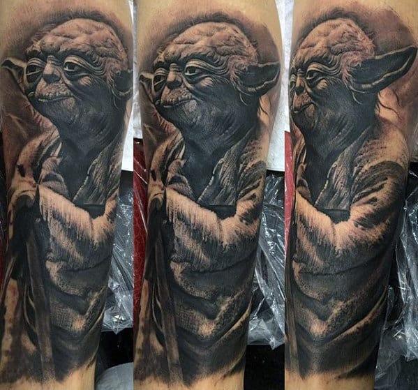 Cool 3d Yoda Guys Forearm Sleeve Tattoo
