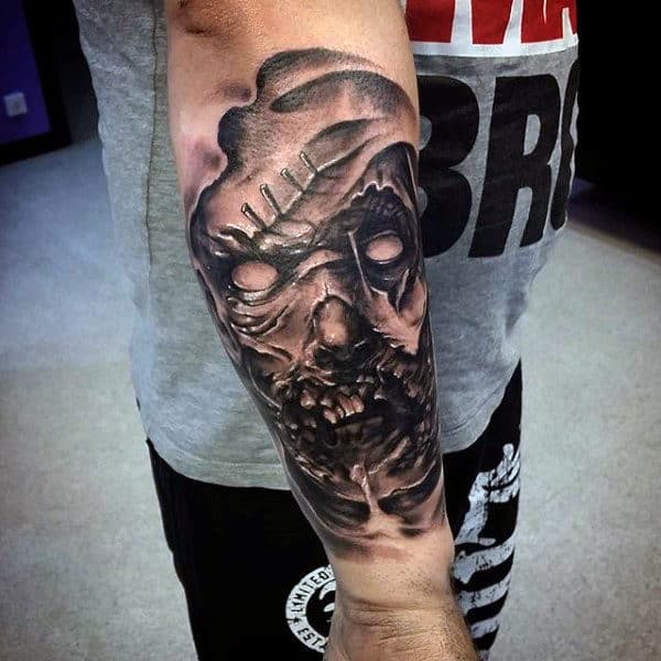 Cool 3d Zombie Virus Tattoo Design On Arm For Guys