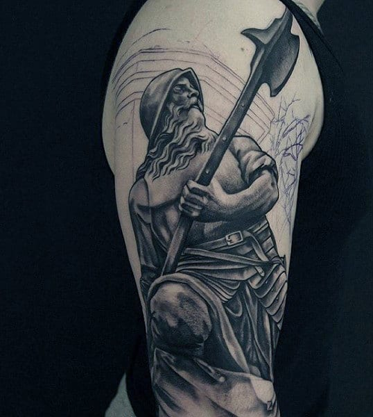 Cool Greek God Ready For Fight Tattoo Males Upper Arms