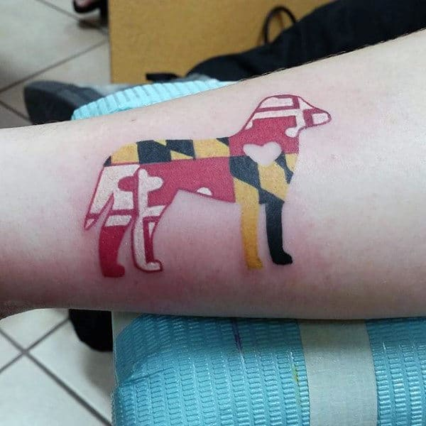 Cool Abstract Dog Tattoo For Men On Arm