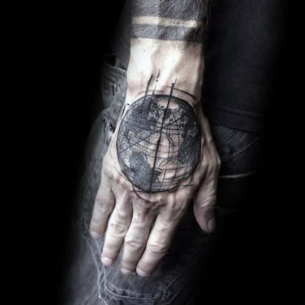 Cool Abstract Globe Male Hand Tattoos