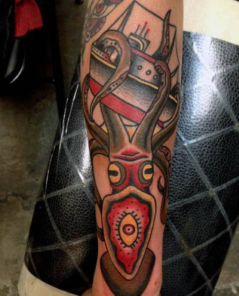 Cool Abstract Male Squid Tattoo With Tentacles Wrapped Around Ocean Vessel