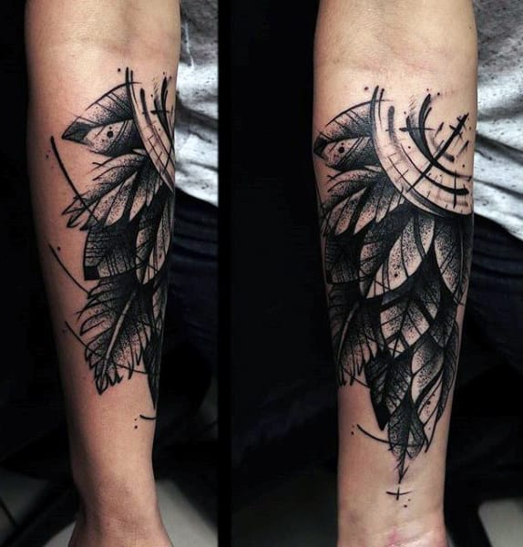 Cool Abstract Mens Inner Forearm Leaf Tattoo Design Inspiration
