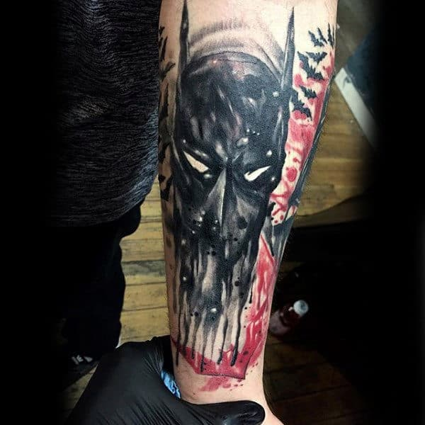 Cool Abstract Watercolor Mens Lower Forearm Batman Tattoos