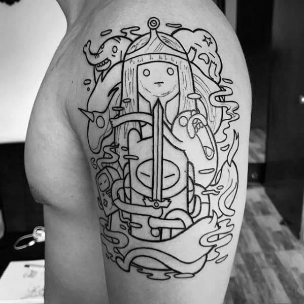 60 Adventure Time Tattoo Designs For Men