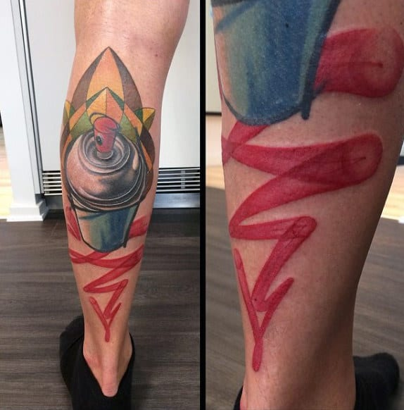 Cool Aerosal Paint Can Graffiti Spray Tattoo On Back Of Leg For Men