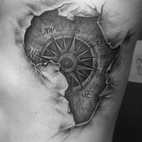 Cool Africa Nautical Compass Mens Ripped Skin Back Tattoo