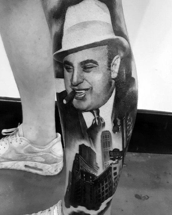 Cool Al Capone Tattoo Design Ideas For Males Leg Sleeve