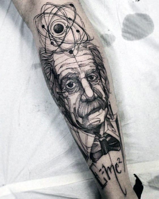 Cool Albert Einstein Tattoo Design Ideas For Male On Leg