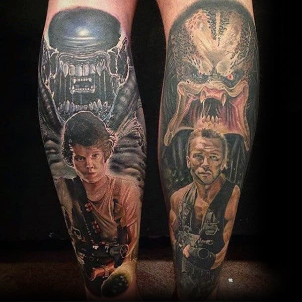 Cool Alien Vs Predator Characters From Movie Mens Leg Sleeve Tattoos