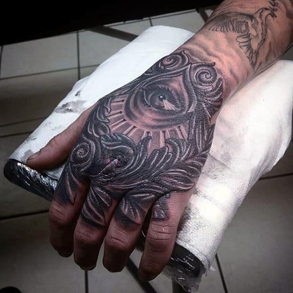 Cool All Seeing Eye Mens Filigree Hand Tattoos