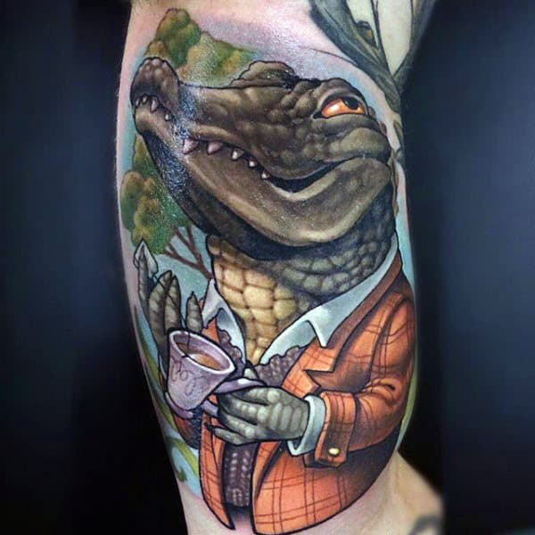 Cool Alligator Tattoo On Arms For Guys