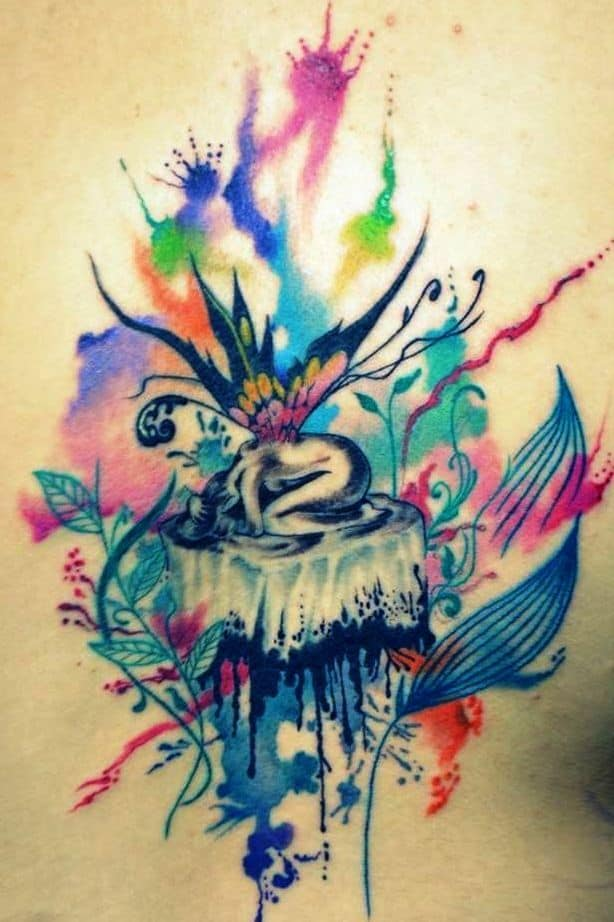 Cool Amazing Watercolor Fairy Tattoo