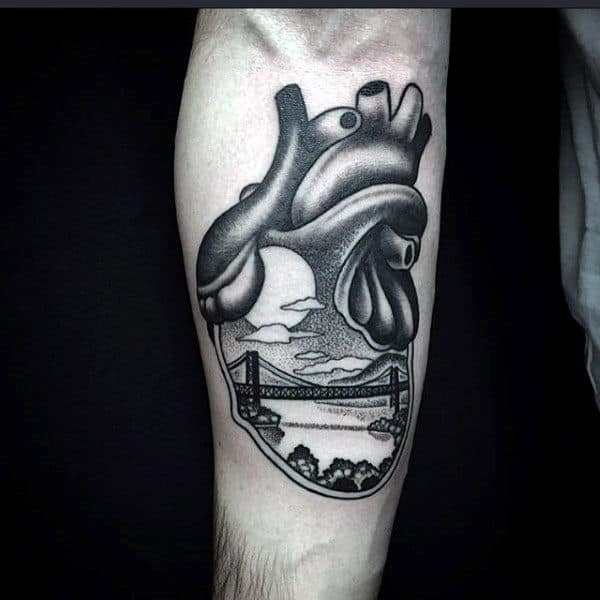 Cool Anatomical Heart Tattoo