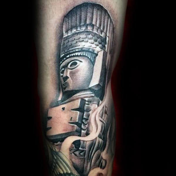 Cool Ancient Mayan Figure Mens Arm Tattoos