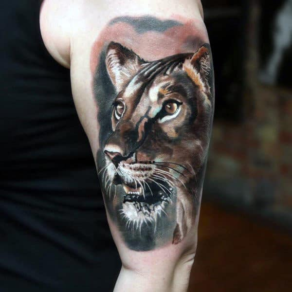 Cool And Realistic Panther Tattoo Male Upper Arms