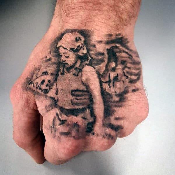 Cool Angel Banksy Mens Hand Tattoos