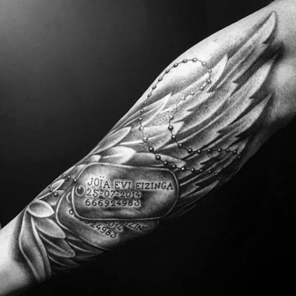 Cool Angel Wing Dog Tag Name Forearm Tattoo For Guys