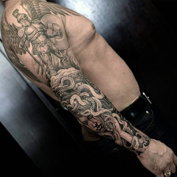 Cool Angel With Medusa Original Full Sleeve Tattoos For Men