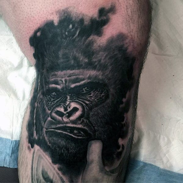 Cool Angry Black Gorilla Tattoo Design For Men